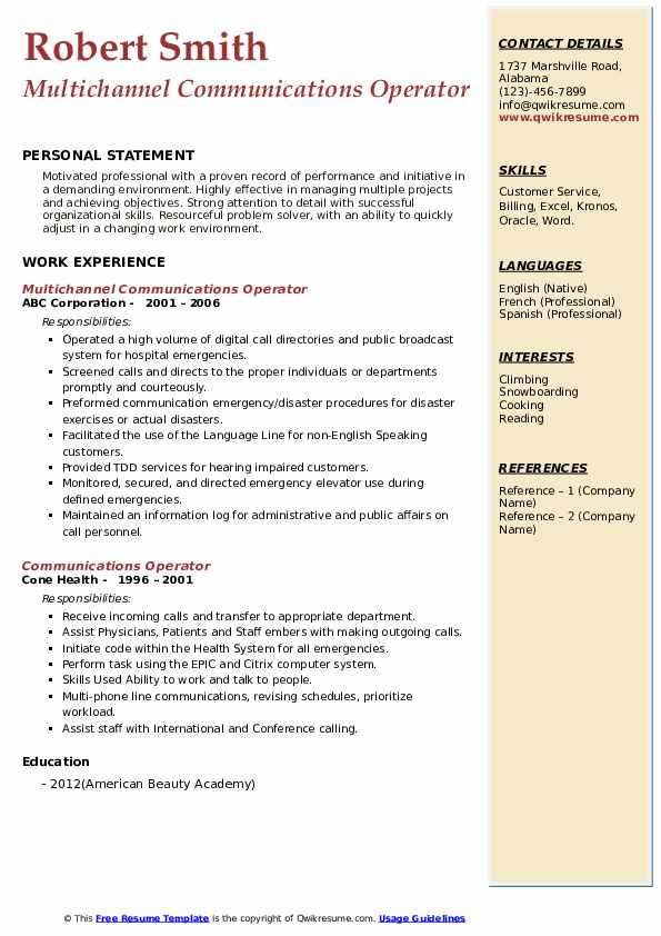 Multichannel Communications Operator Resume Format