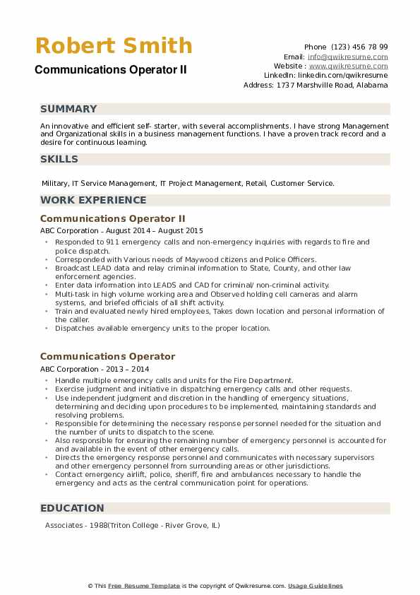 communications operator resume samples