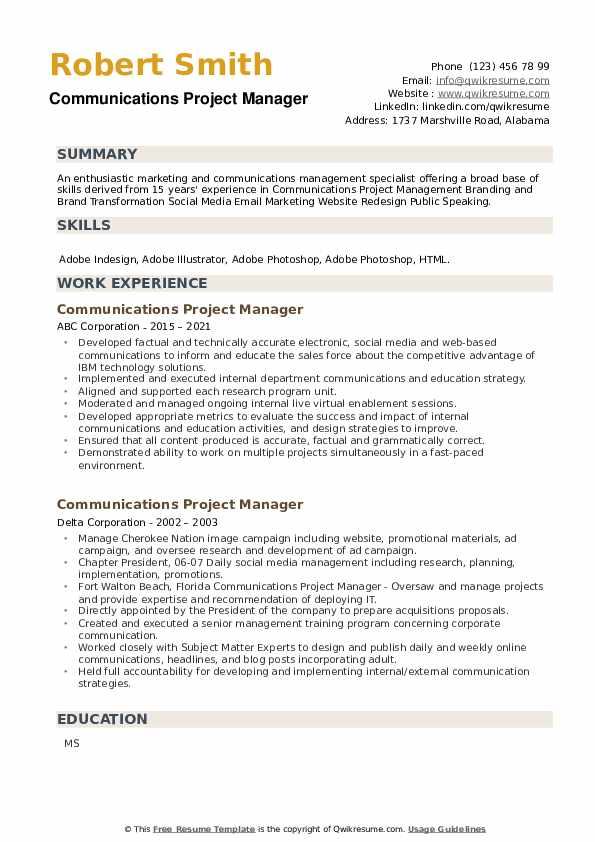 Communications Project Manager Resume example