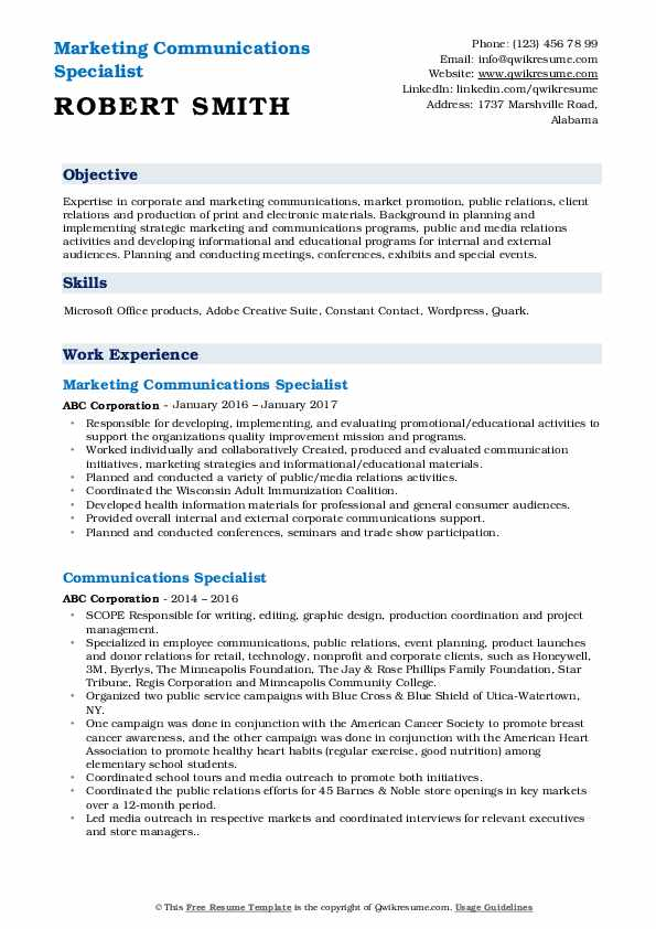 communications specialist resume samples