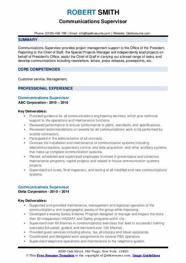 Communications Supervisor Resume example