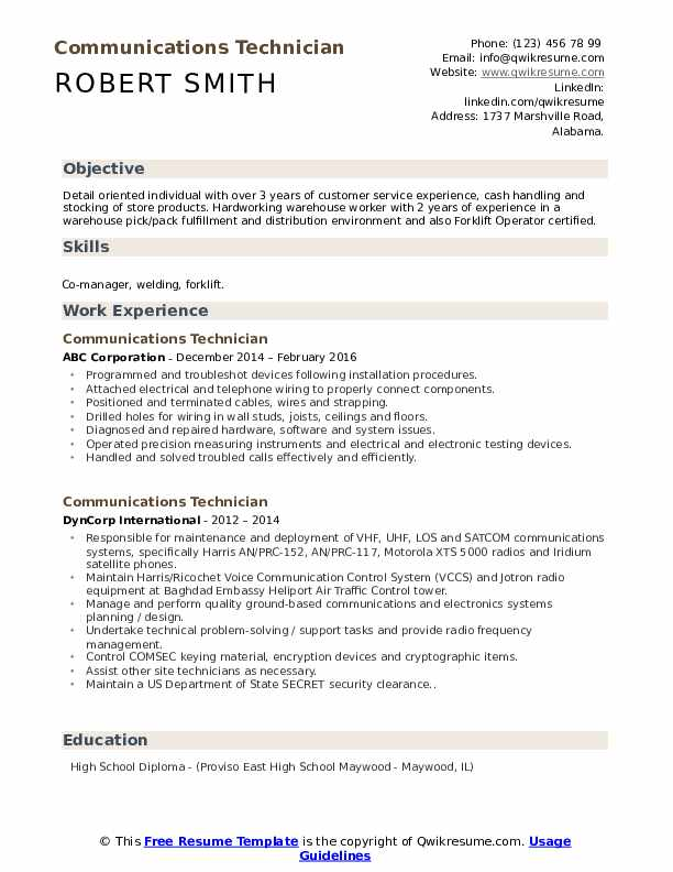 Communications Technician Resume Example