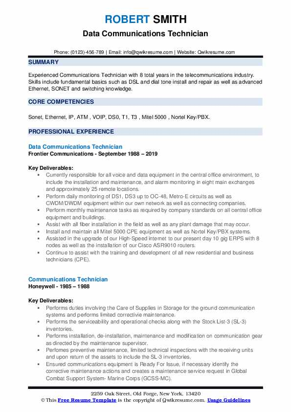 Data Communications Technician Resume Format