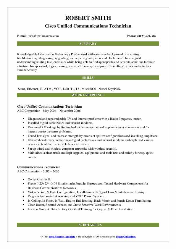 Cisco Unified Communications Technician Resume Template