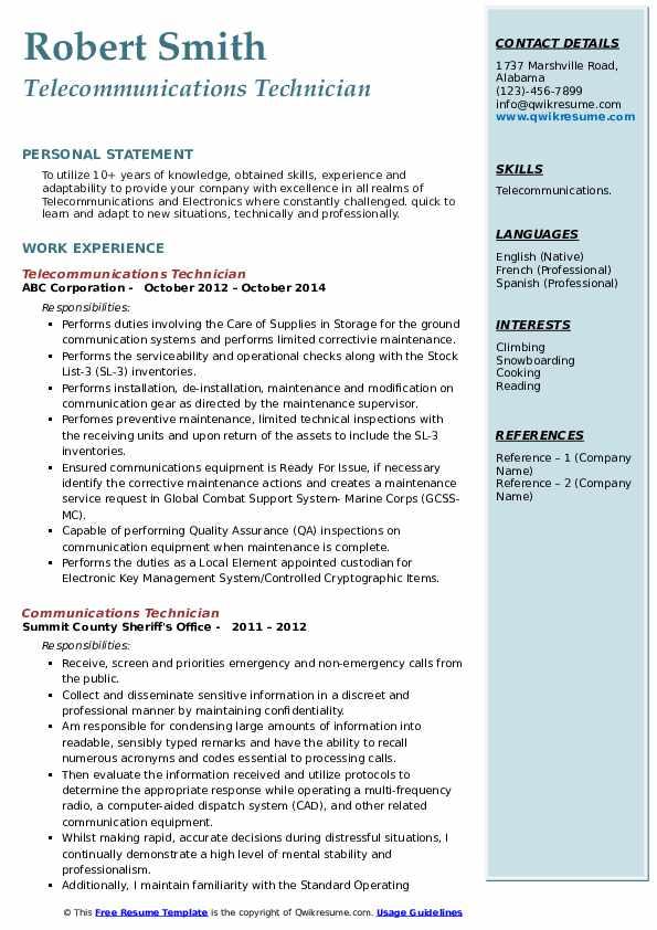 Communications Technician Resume Samples