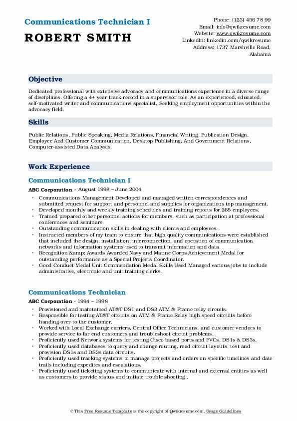 Communications Technician I Resume Model