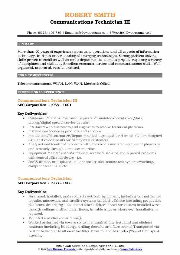Communications Technician III Resume Sample