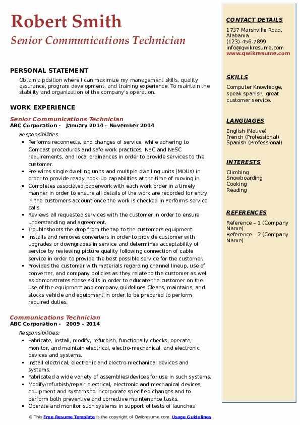 Senior Communications Technician Resume Template