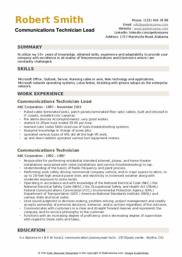 Communications Technician Lead Resume Example