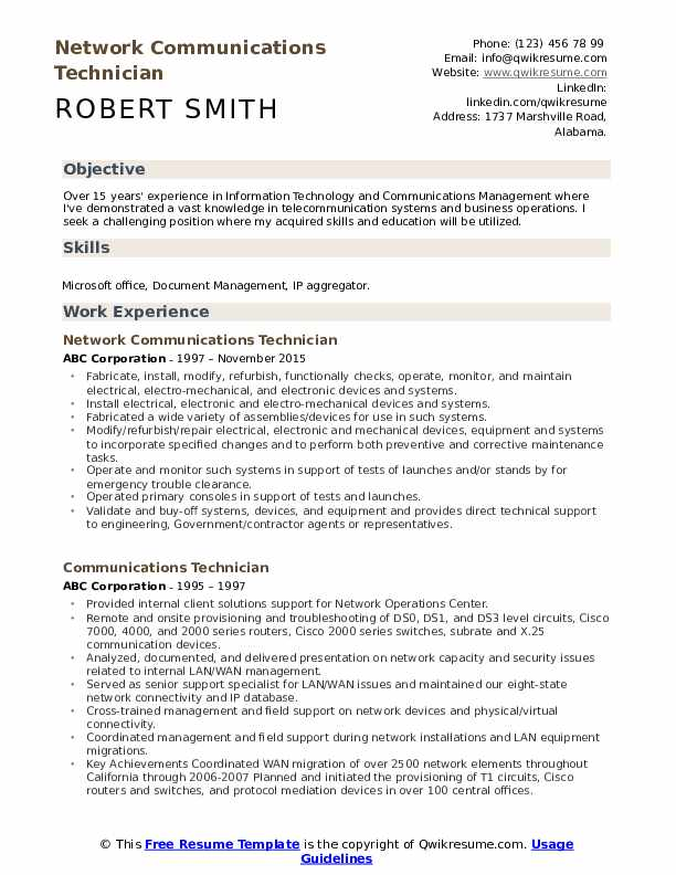 Network Communications Technician Resume Example