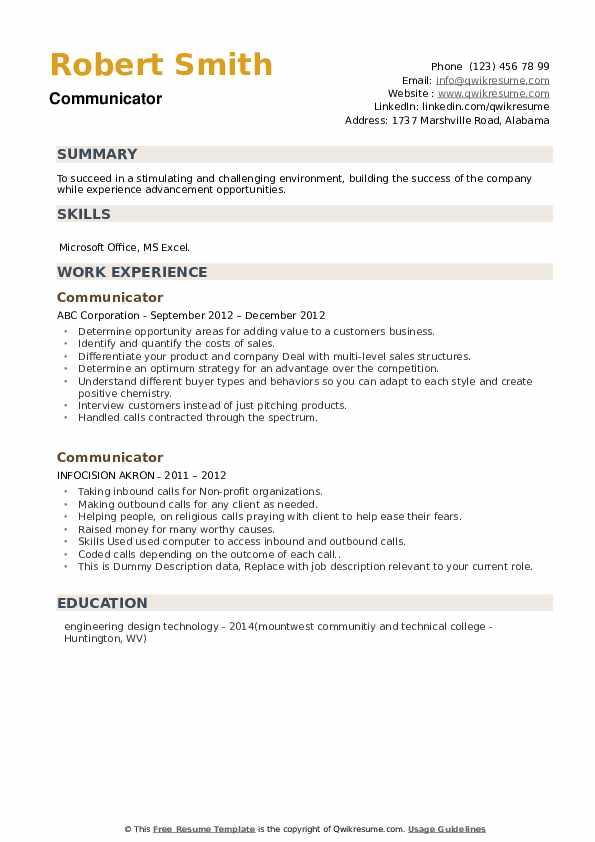 Communicator Resume example