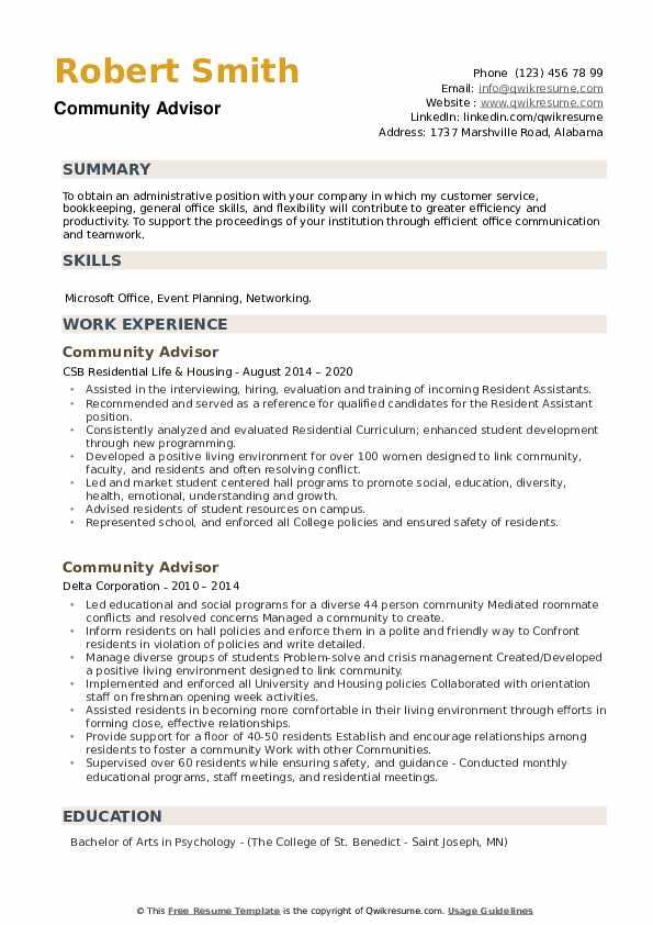 Community Advisor Resume example