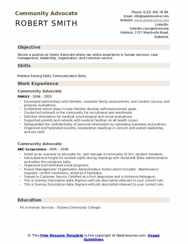 Community Advocate Resume example