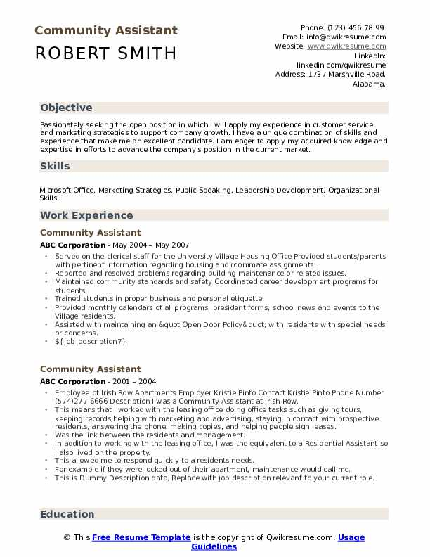 Community Assistant Resume Sample