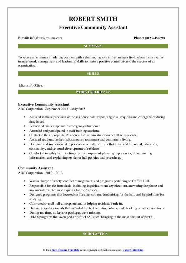Executive Community Assistant Resume Sample
