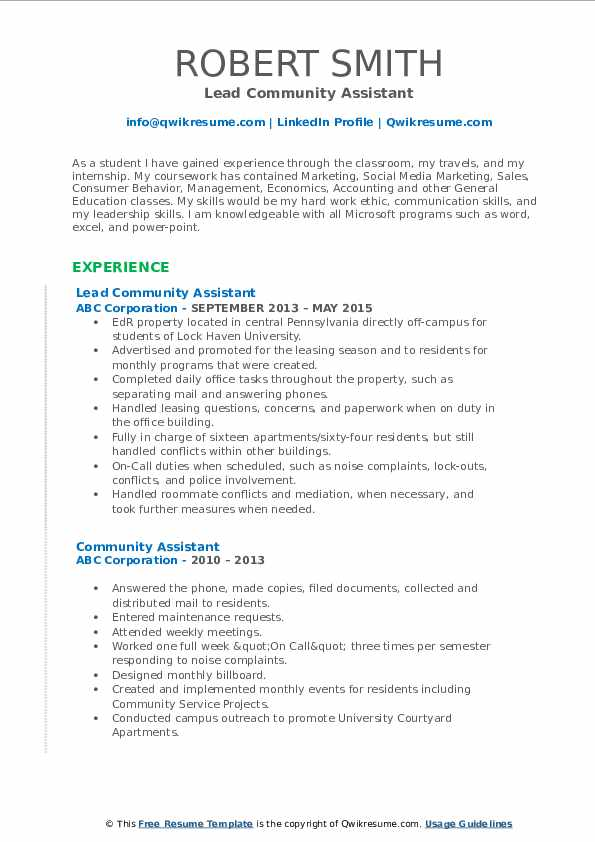 Lead Community Assistant Resume Sample