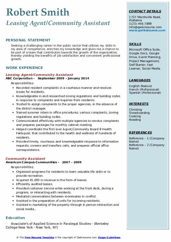 Community Assistant Resume Samples Qwikresume