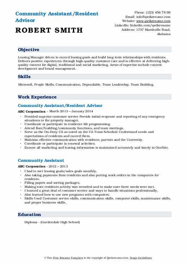 Community Assistant/Resident Advisor Resume Format