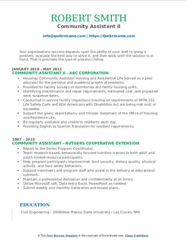 Community Assistant II Resume Example