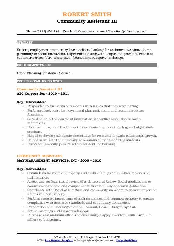 Community Assistant III Resume Sample