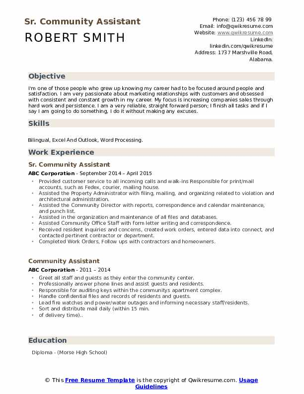 Sr. Community Assistant Resume Model