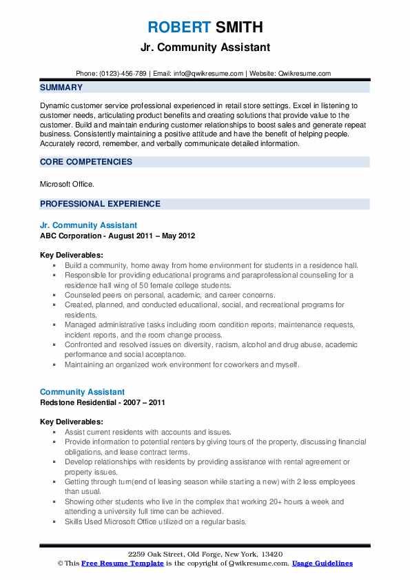 Jr. Community Assistant Resume Model