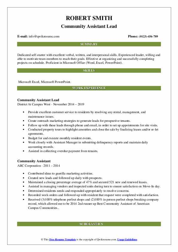 Community Assistant Lead Resume Template