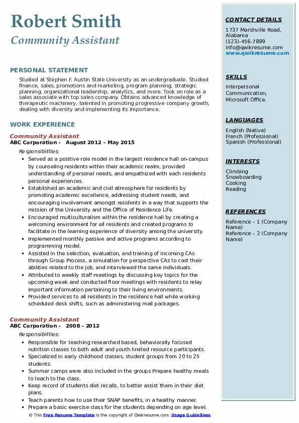 Community Assistant Resume example