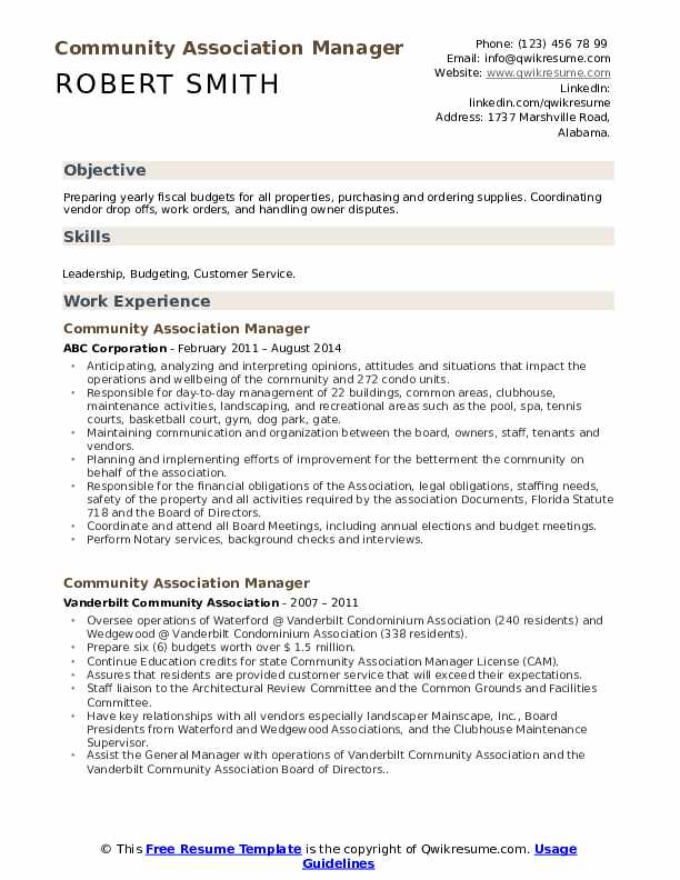 Community Association Manager Resume Format