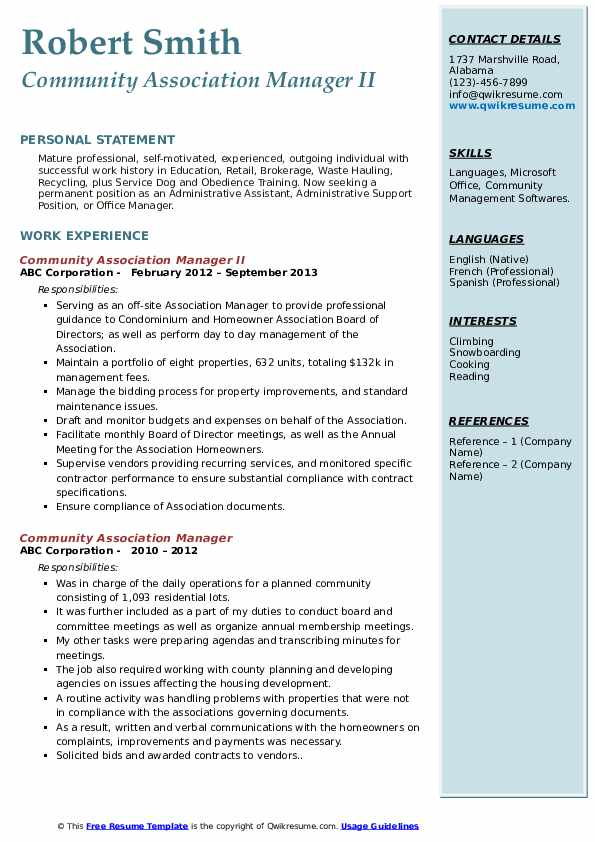 Community Association Manager II Resume Example