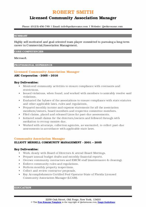 Licensed Community Association Manager Resume Template