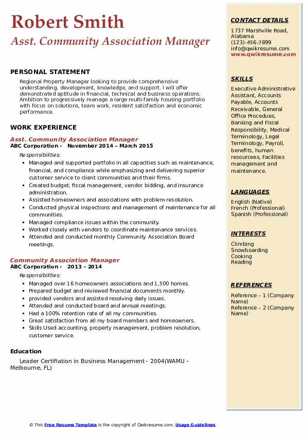 Asst. Community Association Manager  Resume Sample