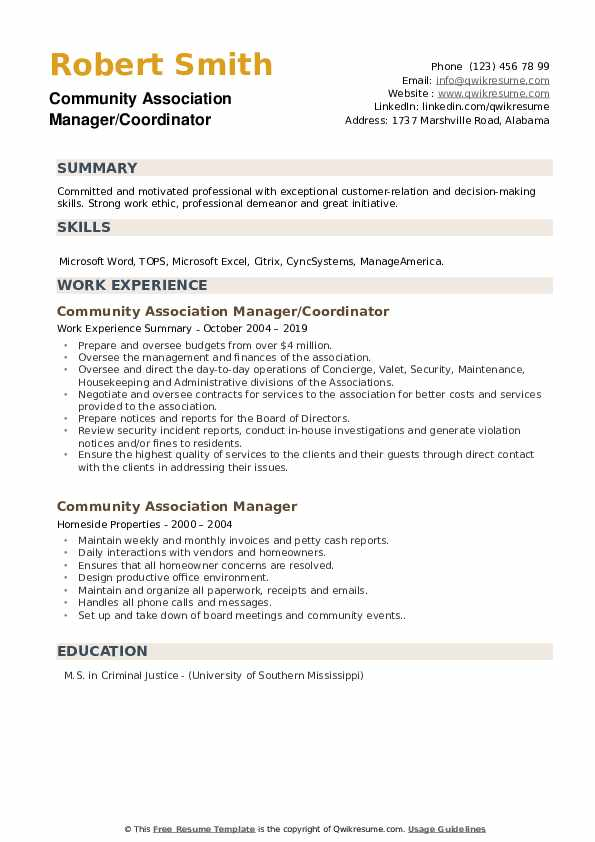 Community Association Manager/Coordinator Resume Sample