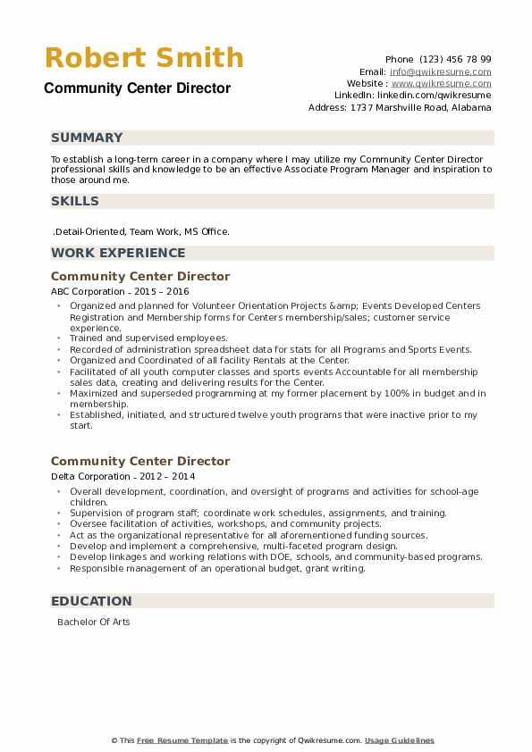 Community Center Director Resume example