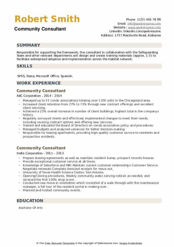 Community Consultant Resume example