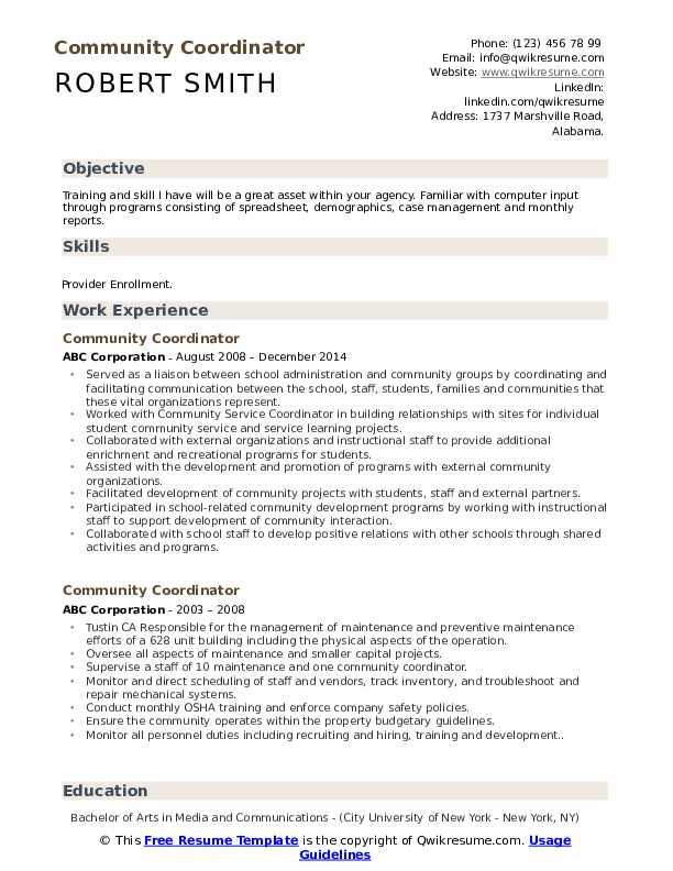 Community Coordinator Resume Format