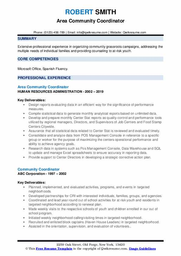 Area Community Coordinator Resume Format