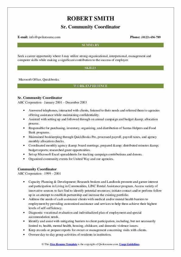 Sr. Community Coordinator Resume Example