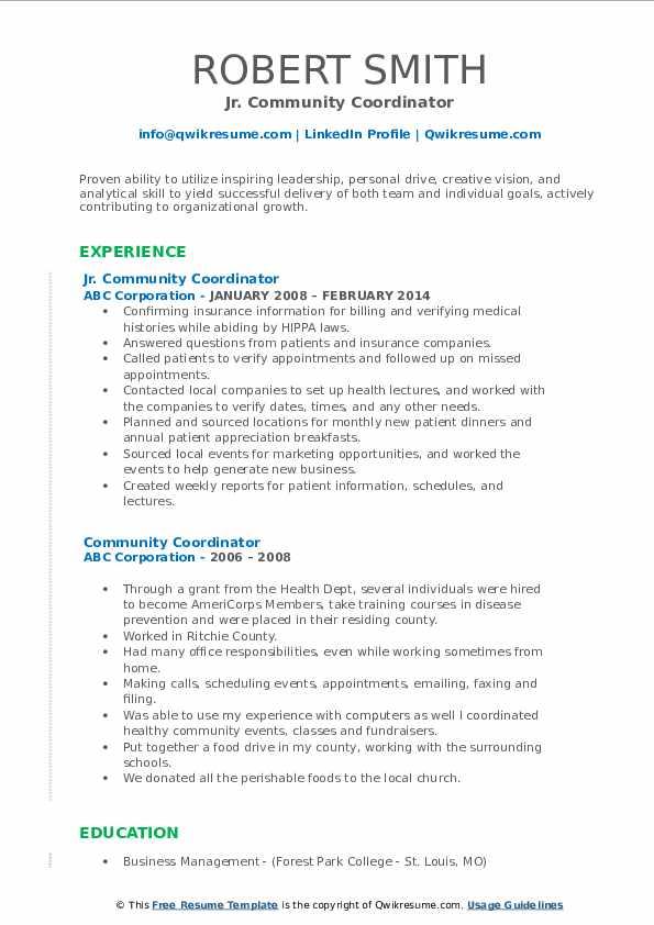 Jr. Community Coordinator Resume Model