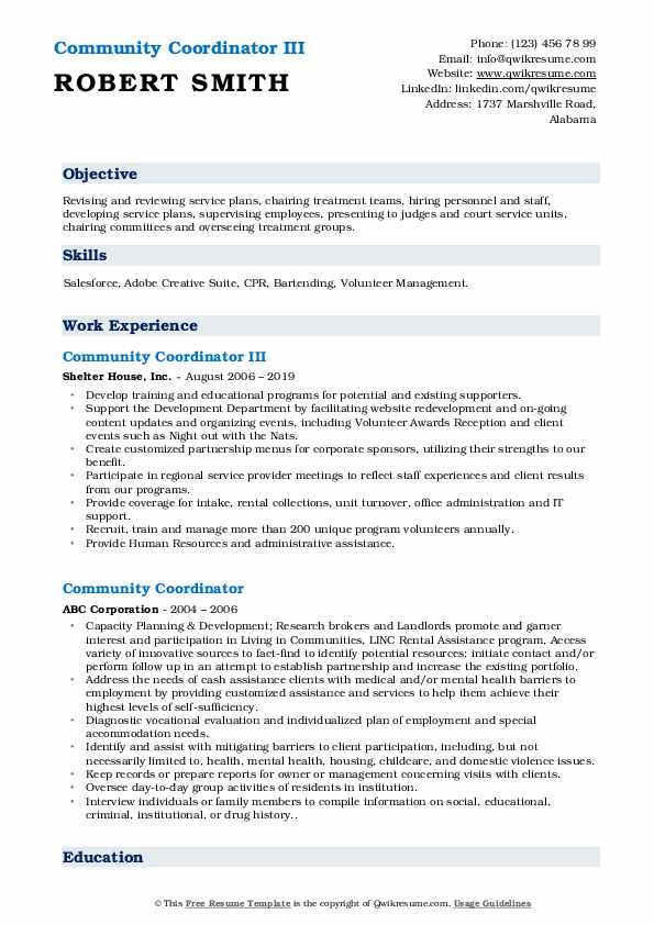 Community Coordinator III Resume Format