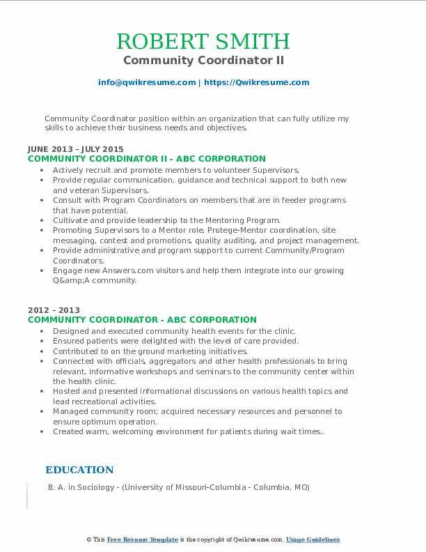 Community Coordinator II Resume Format