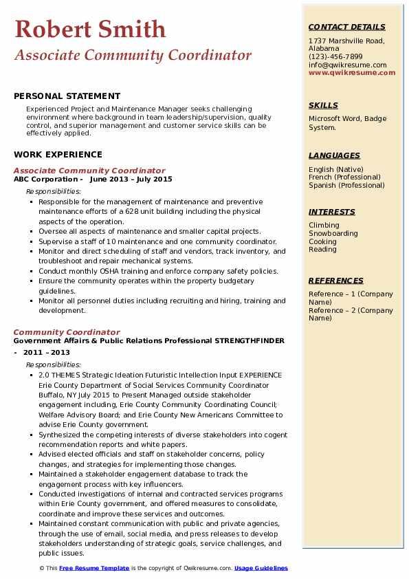 Associate Community Coordinator Resume Sample