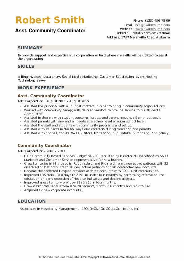 Asst. Community Coordinator Resume Example