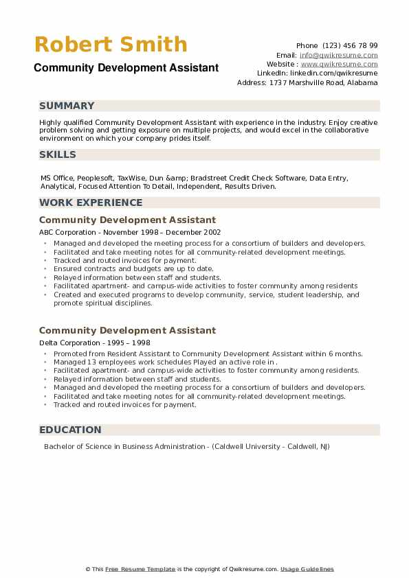 Community Development Assistant Resume example