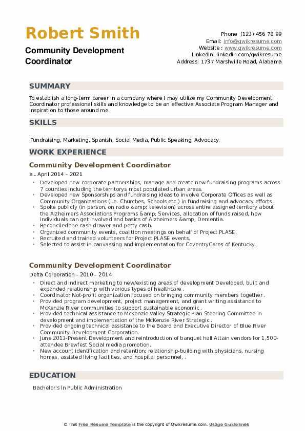 Community Development Coordinator Resume example