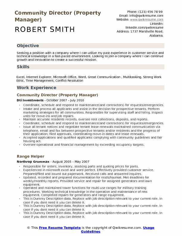 Community Director Resume Samples