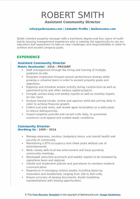 Assistant Community Director Resume Template