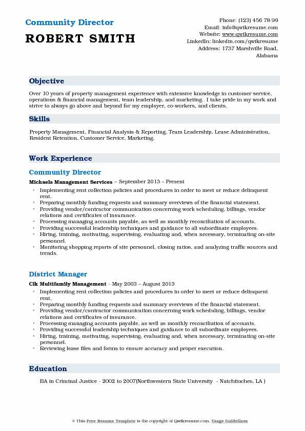 Community Director Resume Template