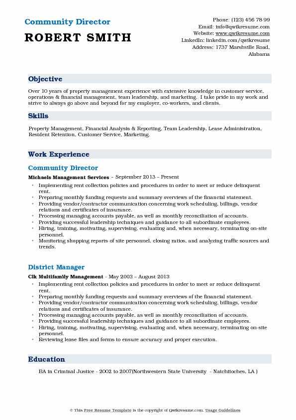 Community Director Resume Model