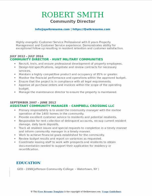 Community Director Resume Format